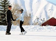 Teenage Couple, Ice Skating