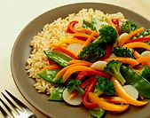 Close-up of Vegetable Stir-fry and Brown Rice