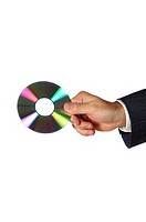 Close-up of a businessman holding a compact disk