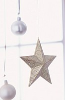 Christmas ornaments, closeup (focus on star)