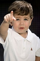 Close-up of a boy pointing