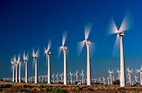 USA, California, Altamont, rows of wind turbines