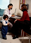 Mother and daughter (1-3) with doctor in office