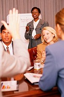 Woman with pointer and chart leading discussion in conference room