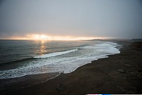 Panoramic view of the beach at dusk, Pacific Ocean