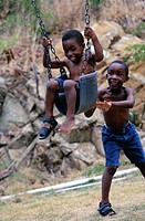 Boys Playing on Swing