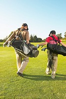 Father and son (11-13) carrying golf bags on golf course, rear view