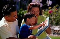 Parents reading to son (3-5)