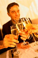 Close-up of Businesspeople Toasting