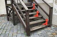 Sculpture of feet going up stairs in town of Cesky Krumlov, Czech Republic, Eastern Europe
