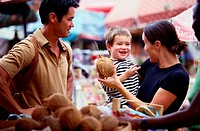 Family in Open Market,  Guadeloupe, Spain