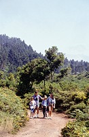 Parents with son (4-5) and daughter(8-9) walking in mountains