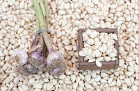Garlic bulbs and cloves, (Close-up)
