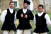 europe, italy, sardegna, men with traditional clothes
