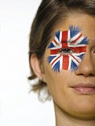 Woman with Union Jack painted in her face