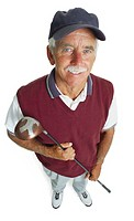 an elderly caucasian man with a white mustache is wearing a blue hat and a maroon vest as he holds his golf club and smiles up at the camera