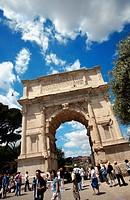 Triumphal arch in Roman forum, Rome. Lazio, Italy