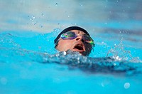 Male Swimmer Swimming Backstroke