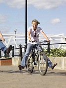 Woman having fun on a bicycle