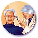 ENT, ILLUSTRATION<BR>Hearing exam.  Illustration of a hearing exam. The doctor uses an otoscope to examine the eardrum and the auditory canal.