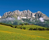 Mountain Wilder Kaiser with farm house in the Tyrol country in the Austrian Alps