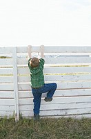 Boy climbing a fence (thumbnail)