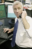 Businessman at computer talking on phone.