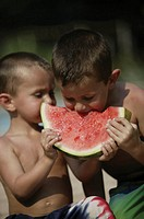Boys eating watermelon.