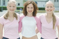 Portrait of Three Young Women With their Arms Around Each Other (thumbnail)