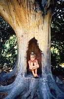 Little girl sitting in the hollow trunk of a tree