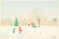 Illustration of Two Children Playing in Snow in Field