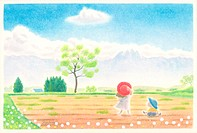Illustration of Two Children in Field in Spring