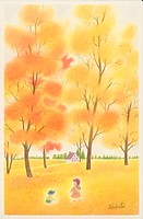 Illustration of Two Children Playing in Autumn