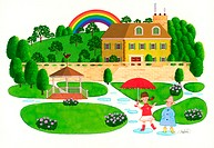 Illustration of Two Children in Garden of House in Countryside