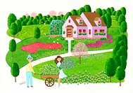 Illustration of Couple in Gardenin Front of House
