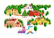 Illustration of Mother Wheeling Daughter in Pram in Winter