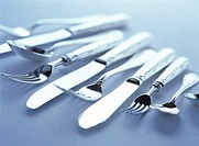 Close Up of Knives Forks and Spoons