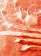 Close Up of Knives and Forks