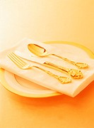 Close Up of Knife Fork and Spoon resting on Napkin