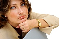 Close-up of a businesswoman looking serious