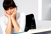 Close-up of a businesswoman looking depressed