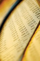 Close-up of financial figures on paper seen through a magnifying glass
