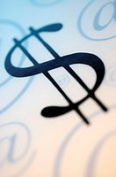 Close-up of a dollar sign with an 'at' symbols