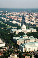 Aerial view of a government building in a city, Capitol Building, Library of Congress, Washington DC, USA
