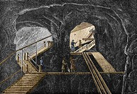 19th-century mining. Historical artwork of miners in a graphite mine. Graphite is a form of carbon that is mined for a wide variety of uses, such as i...