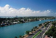 Road along waterway, Intracoastal Waterway, Miami Beach, Florida, USA