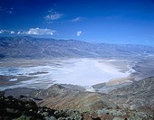 Salt lake near a mountain, Badwater, Death Valley National Park, Death Valley, California, USA