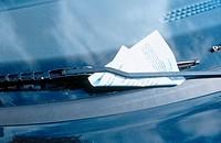 Violation ticket on windshield