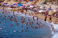 High angle view of people in sea, Byblos, Lebanon