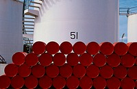Stacks of oil drums